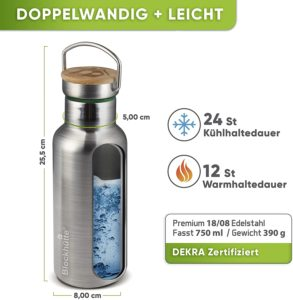Blockhütte Trinkflasche Edelstahl
